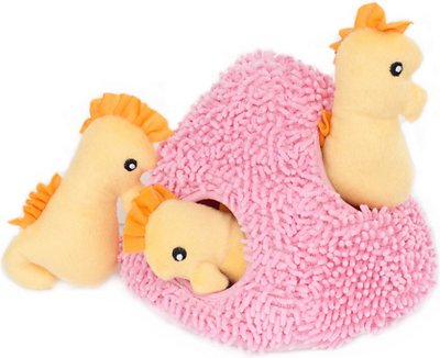 ZippyPaws Burrow Squeaky Hide and Seek Plush Dog Toy, Seahorse 'n Coral, Puzzle Set