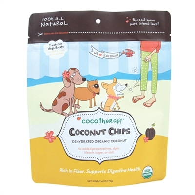 CocoTherapy Organic Coconut Chips Dog & Cat Treats 6z