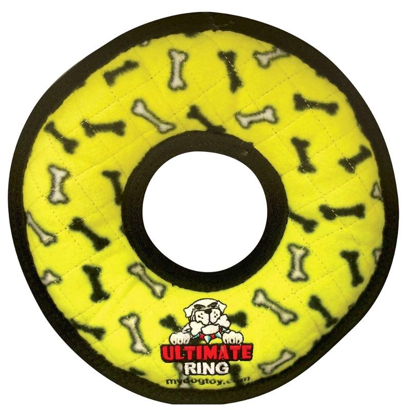 Tuffy's Ultimate Ring Dog Toy, Yellow Bones