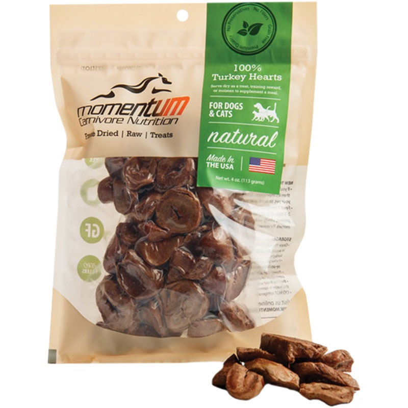 Momentum Freeze-Dried Turkey Hearts for Dogs & Cats, 4-oz Bag Size:  4-oz Bag