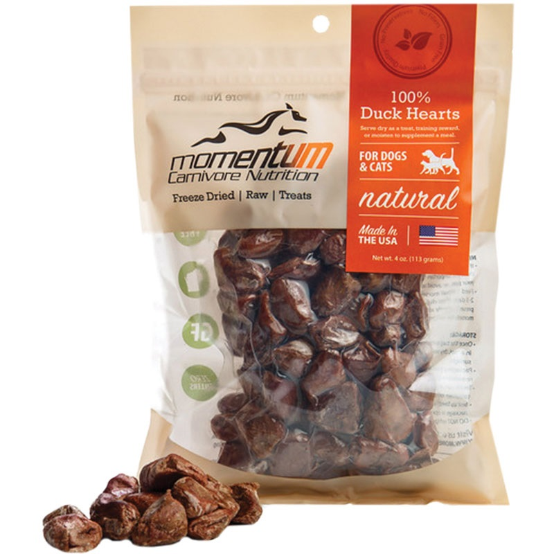 Momentum Freeze-Dried Duck Hearts for Dogs & Cats, 4-oz Bag