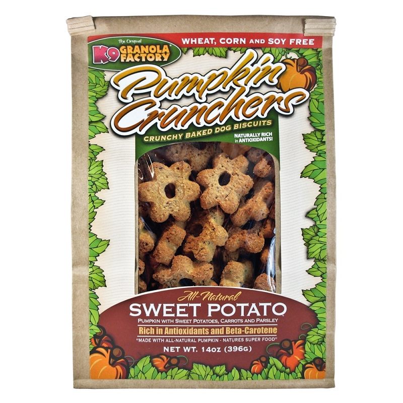 K9 Granola Factory Pumpkin Crunchers with Sweet Potatoes, Carrots and Parsley Dog Treats, 14-oz