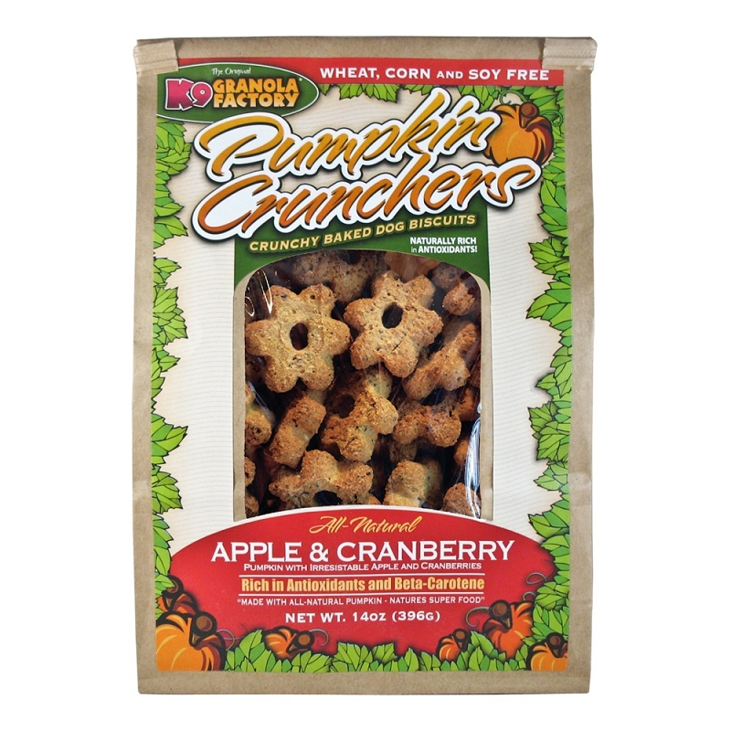 K9 Granola Factory Pumpkin Crunchers with Apples & Cranberries Dog Treats, 14-oz