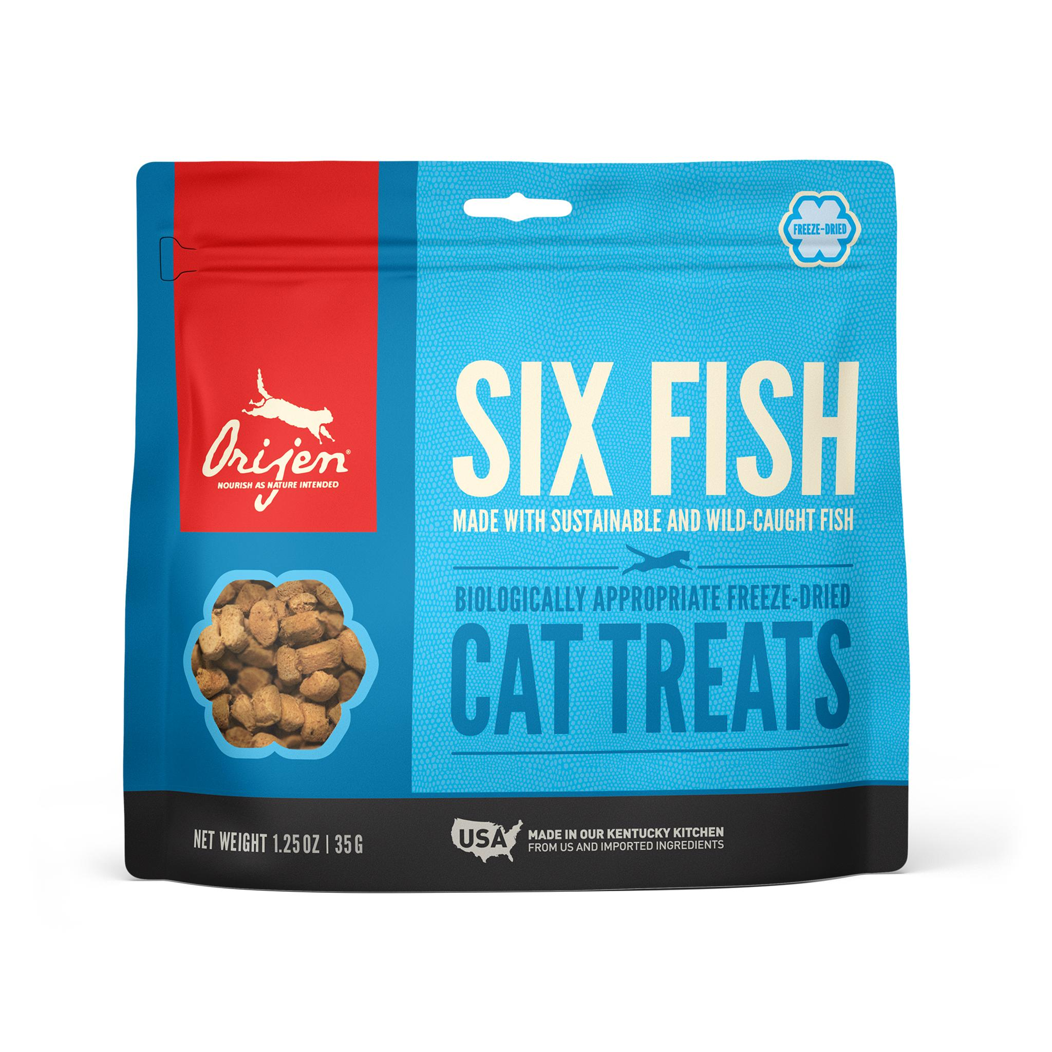 ORIJEN Six Fish Grain-Free Freeze-Dried Cat Treats, 1.25-oz
