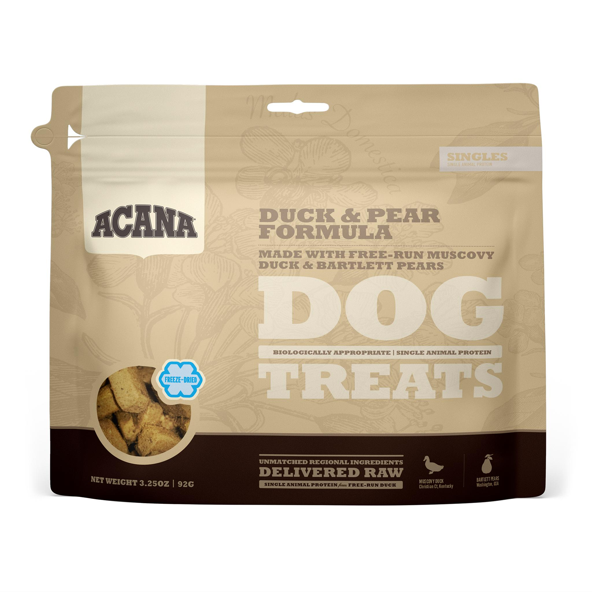 ACANA Singles Duck & Pear Grain-Free Freeze-Dried Dog Treats, 3.25-oz