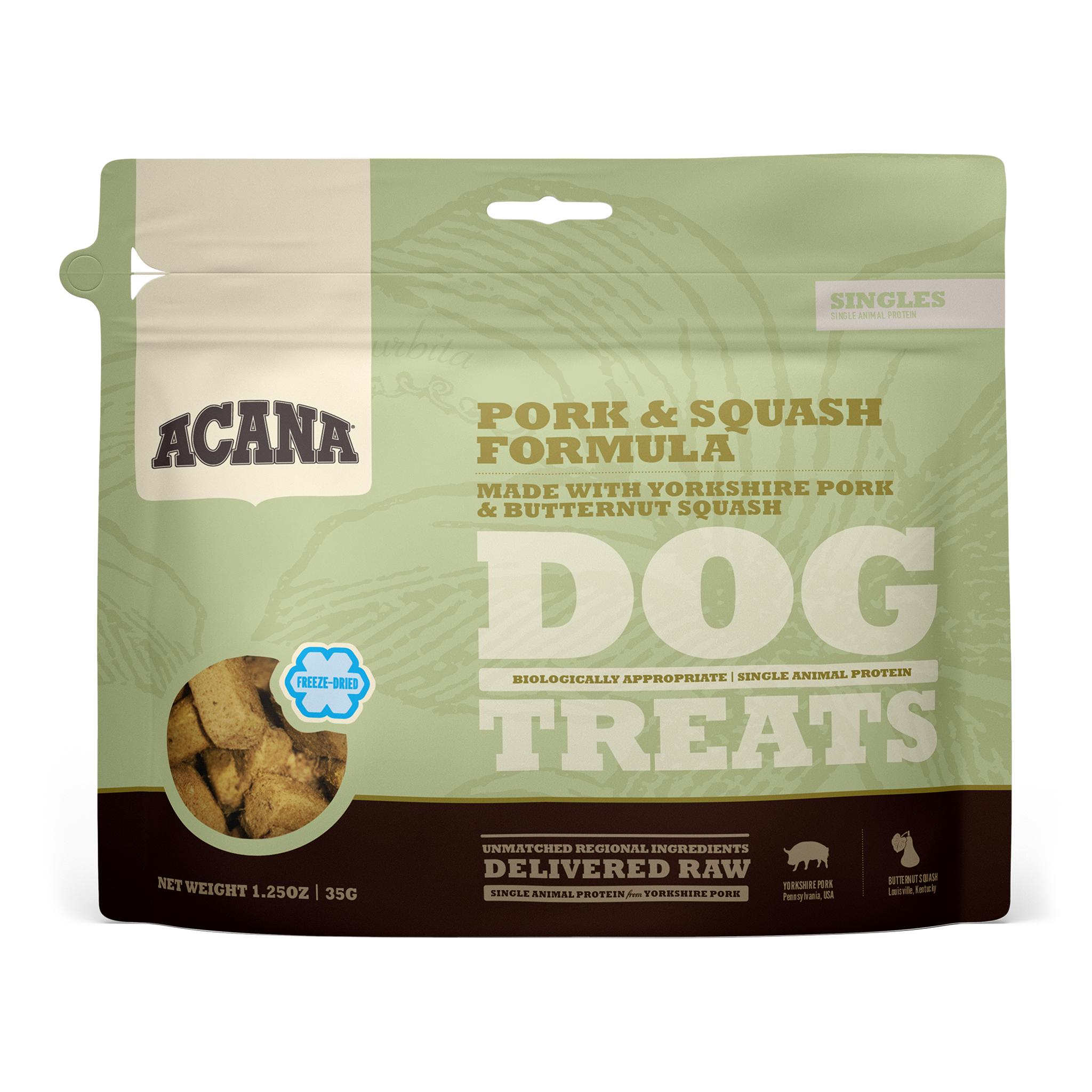 ACANA Singles Pork & Squash Grain-Free Freeze-Dried Dog Treats, 1.5-oz