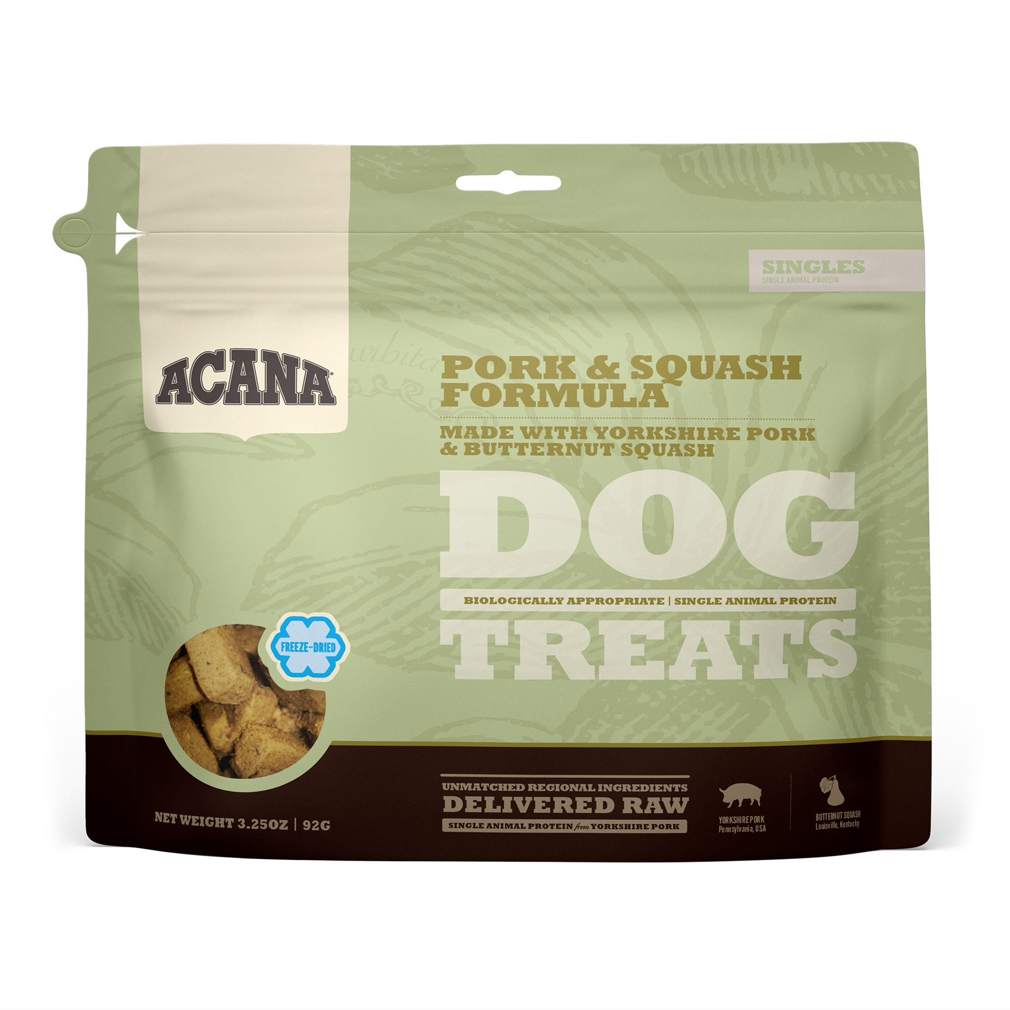 ACANA Singles Pork & Squash Grain-Free Freeze-Dried Dog Treats, 3.25-oz
