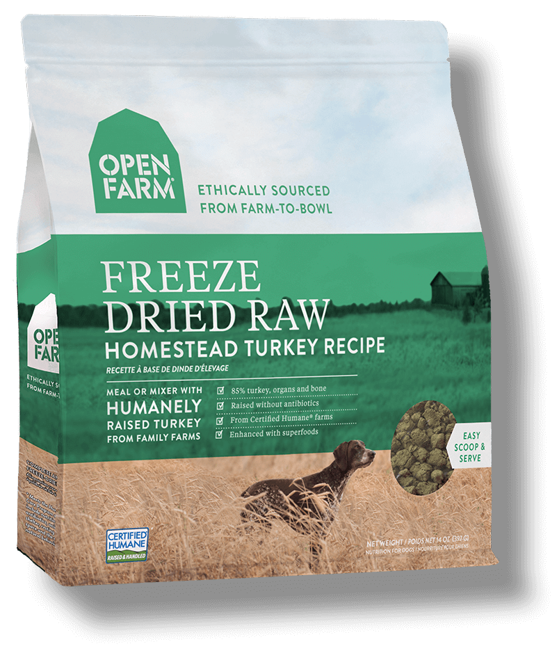 Open Farm Homestead Turkey Recipe Raw Freeze-Dried Dog Food, 13.5-oz