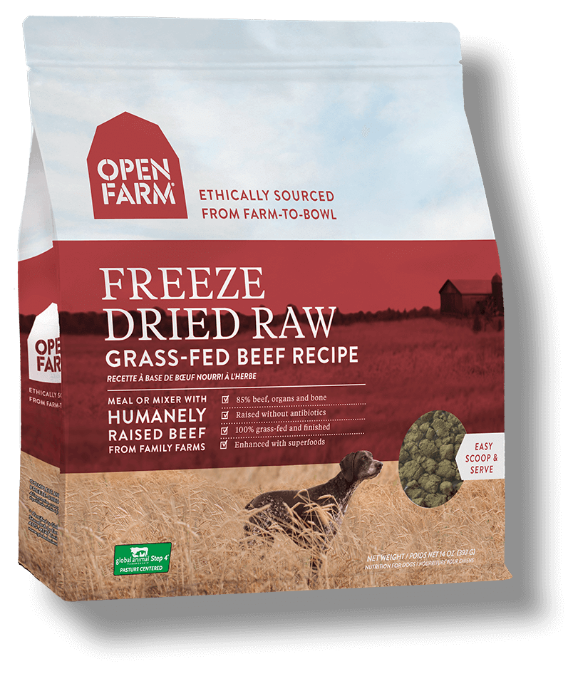 Open Farm Grass-Fed Beef Recipe Raw Freeze-Dried Dog Food, 13.5-oz