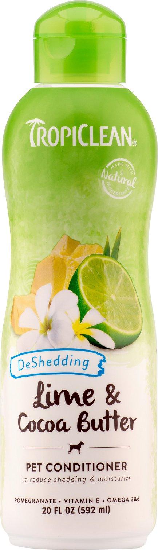 TropiClean Lime & Cocoa Butter Deshedding Dog Conditioner, 20-oz bottle
