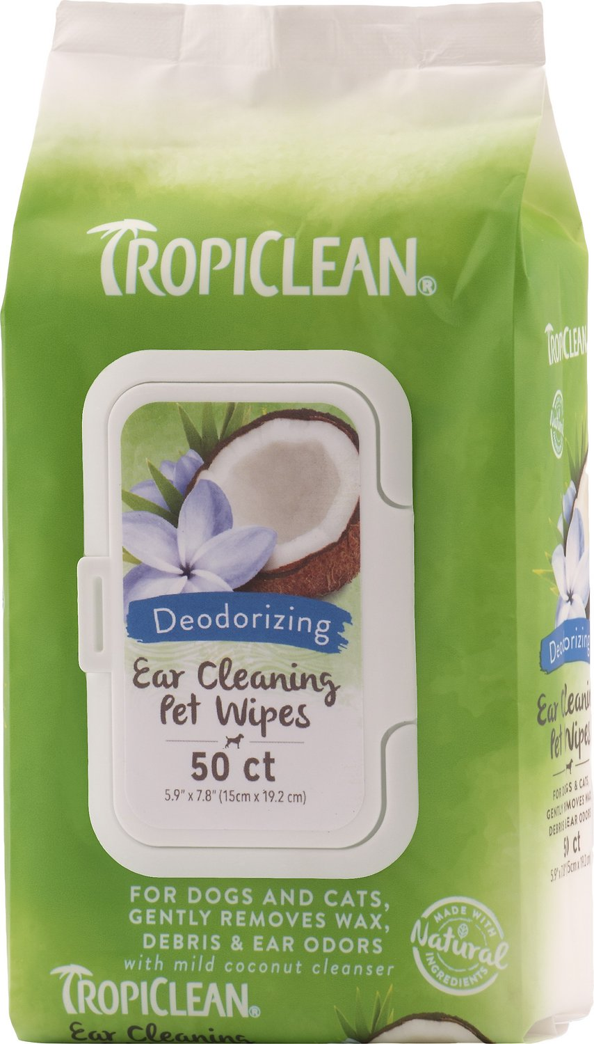 TropiClean Ear Cleaning Wipes for Dogs, 50 count