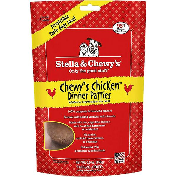 Stella & Chewy's Chewy's Chicken Dinner Patties Grain-Free Freeze-Dried Dog Food, 5.5-oz bag