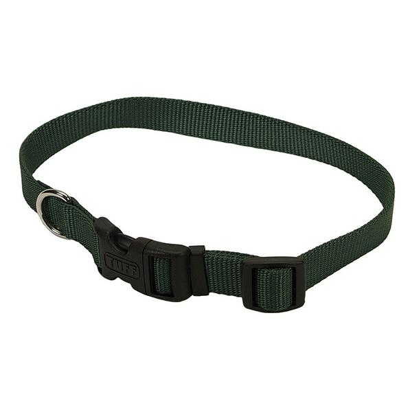 Coastal Adjustable Nylon Collar with Tuff Buckle for Dogs, Hunter Green, 1-in Nylon x 18-in-26-in Neck Girth