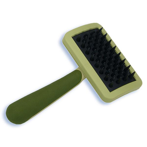 Safari Cat Rubber Curry Massaging Brush with Handle, One Size