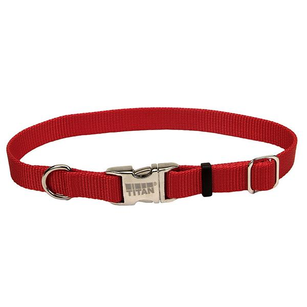 Coastal Adjustable Nylon Collar with Titan Metal Buckle for Dogs, Red, 3/4-in Nylon x 14-in-20-in Neck Girth