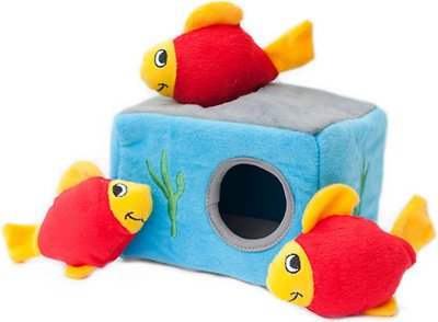 ZippyPaws Burrow Squeaky Hide and Seek Plush Dog Toy, Aquarium 'n Fish, Puzzle Set