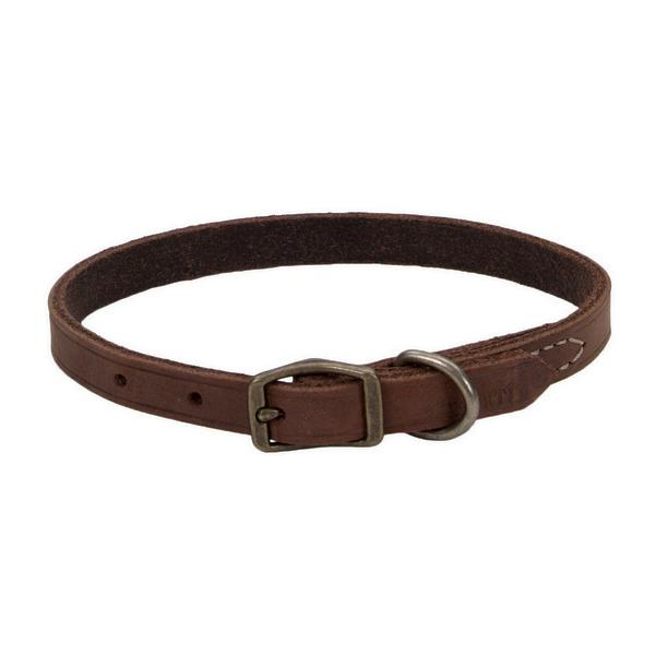 Circle T Rustic Leather Town Dog Collar, Chocolate, 3/8-in Leather x 12-in Neck Girth