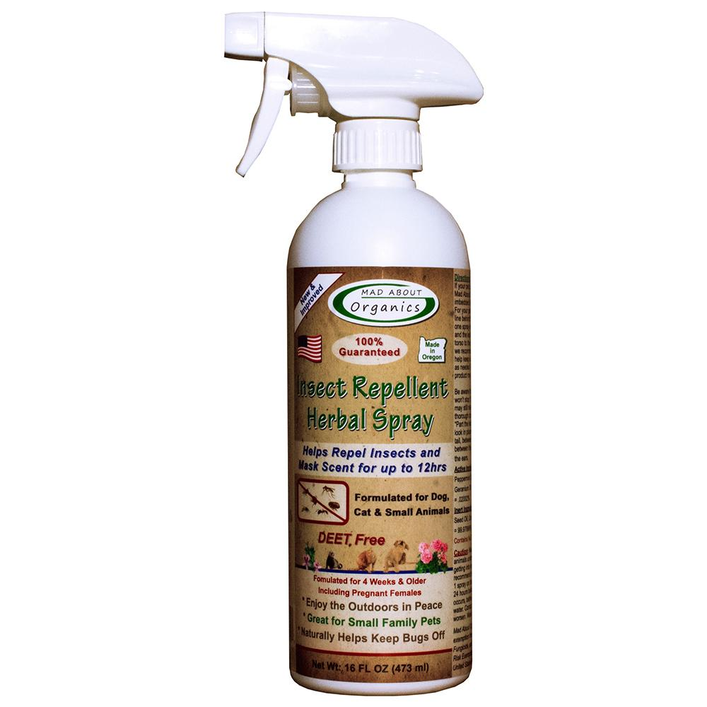 Mad About Organics Insect Repellent Herbal Spray for Dogs, Cats and Small Animals, 16-oz