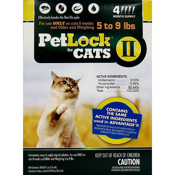 PetLock II Flea Treatment & Prevention Small 5-9# Cat Topical Liquid, 4 Doses (Size: 4 Doses ) Image