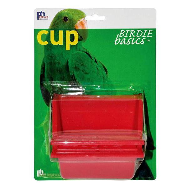Prevue Pet Products Birdie Basics Plastic Bird Perch High Back Mountable Feeding Cup, 6oz