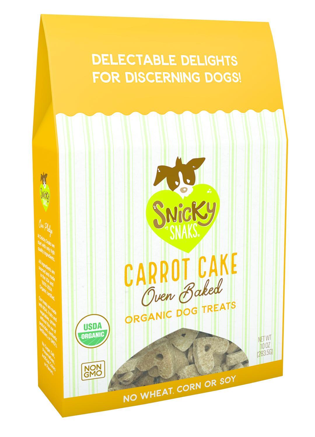 Snicky Snaks Organic Oven Baked Carrot Cake Dog Treats, 10-oz box