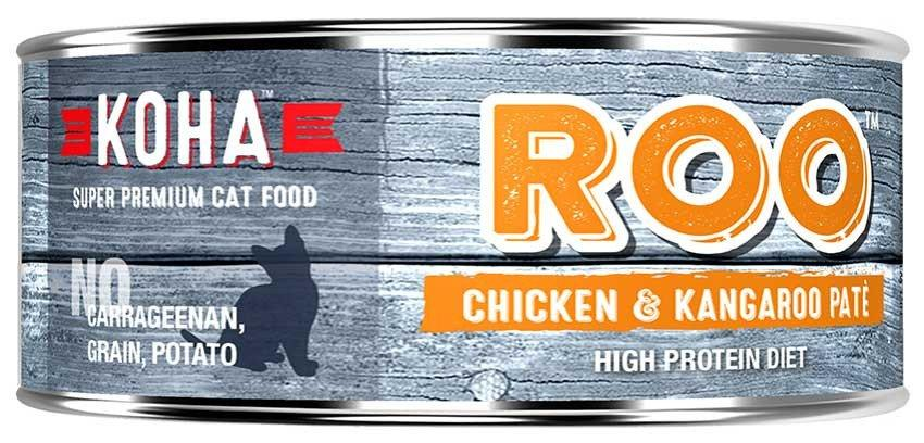 Koha Cat High Protein Diet ROO Chicken & Kangaroo Pate Wet Cat Food, 5.5-oz