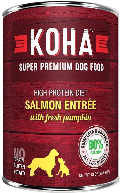 Koha High Protein Diet Salmon Entree with Fresh Pumpkin Wet Dog Food, 13-oz