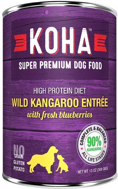 Koha High Protein Diet Kangaroo Entree with Fresh Blueberries Wet Dog Food, 13-oz