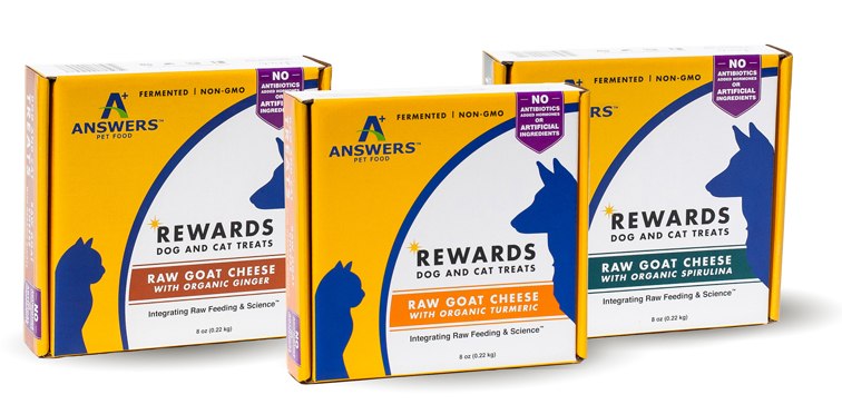 Answers Rewards Raw Goat Cheese with Organic Turmeric Grain-Free Dog & Cat Treats, 8-oz