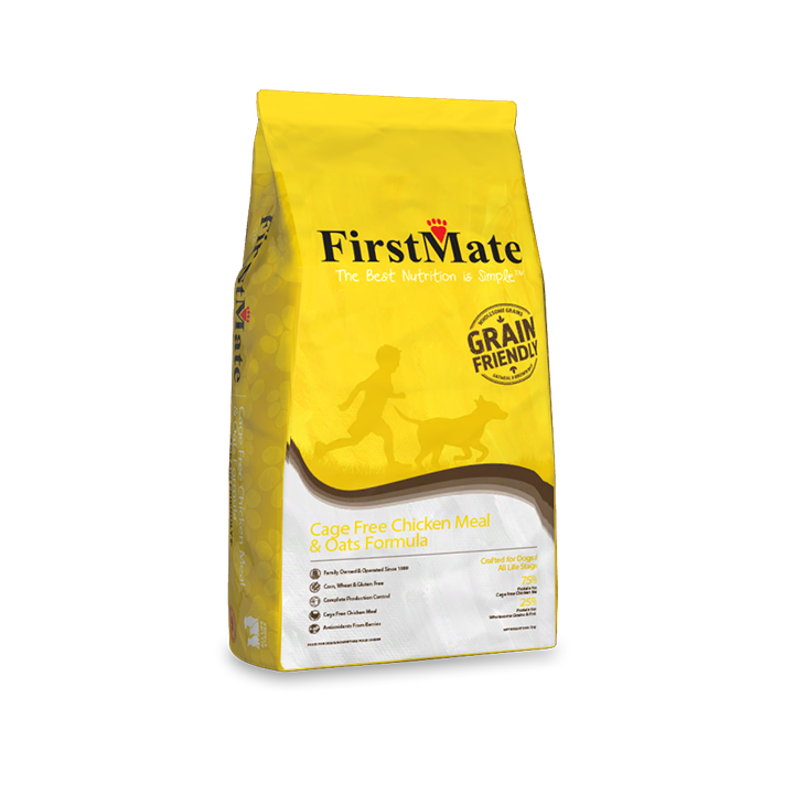 FirstMate Grain Friendly Cage-Free Chicken Meal & Oats Dry Dog Food, 25-lb