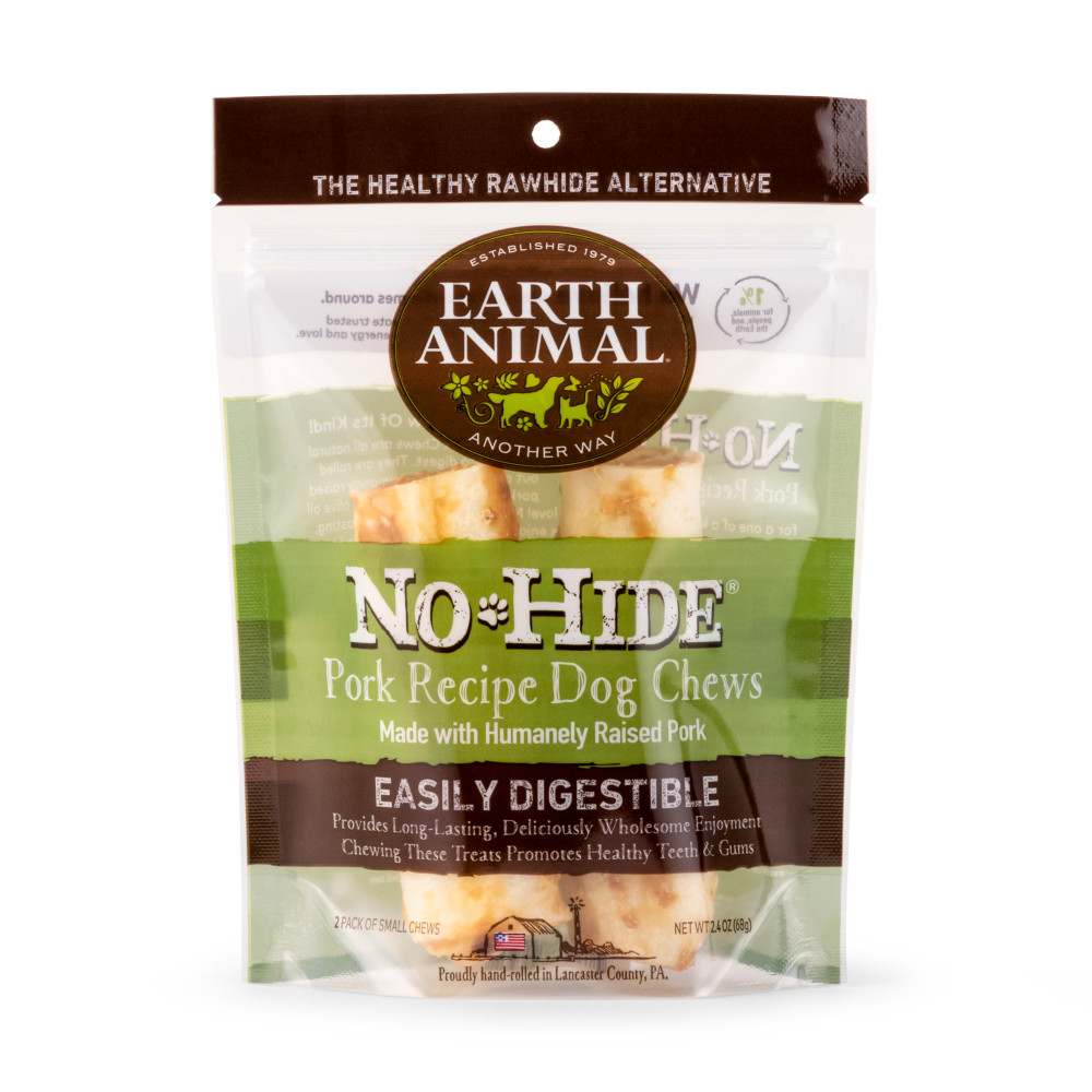 Earth Animal No-Hide Pork Chew Dog Treat, 4-in, 2-pack