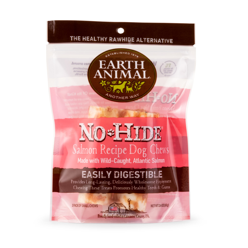 Earth Animal No-Hide Salmon Chew Dog Treats, 4-in, 2-pack