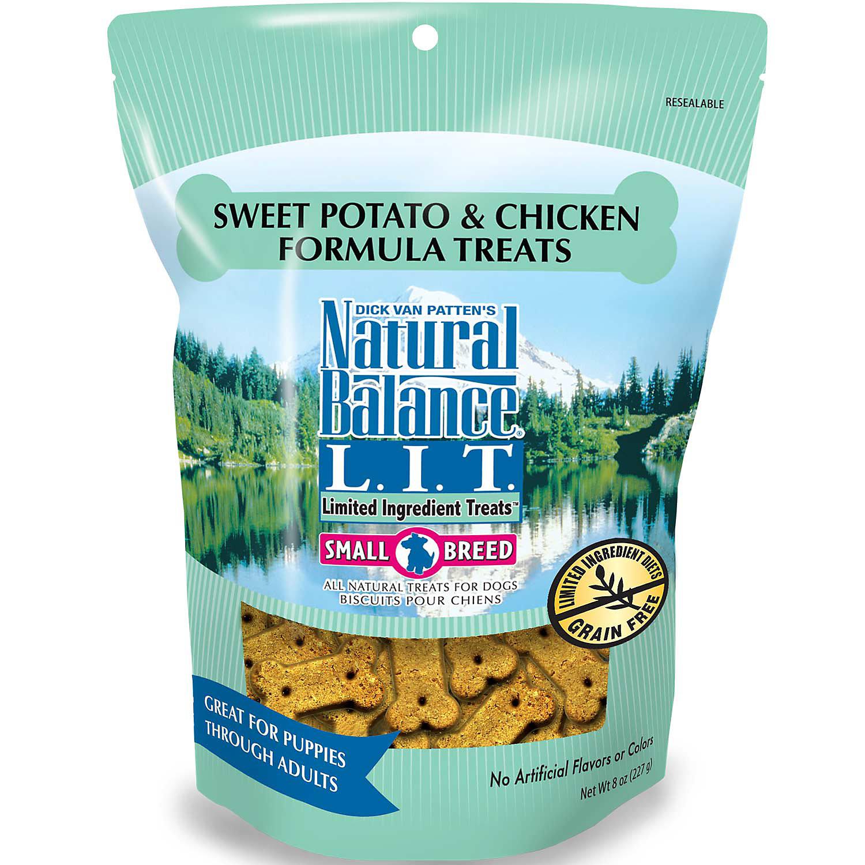 Natural Balance L.I.T. Limited Ingredient Treats Sweet Potato & Chicken Formula Dog Treats, Regular Breeds, 8-oz
