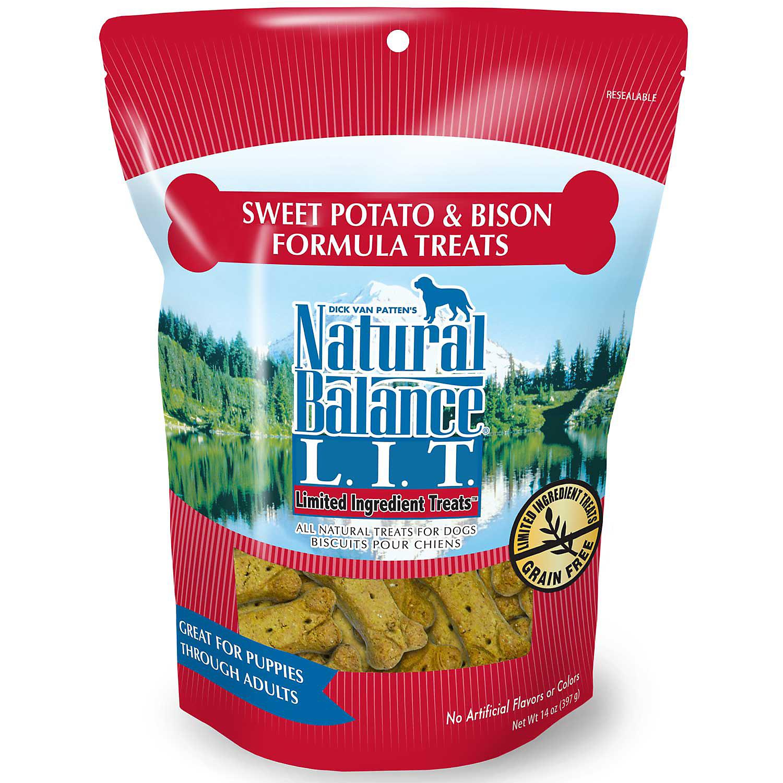 Natural Balance L.I.T. Limited Ingredient Treats Sweet Potato & Bison Formula Dog Treats, Regular Breeds, 14-oz