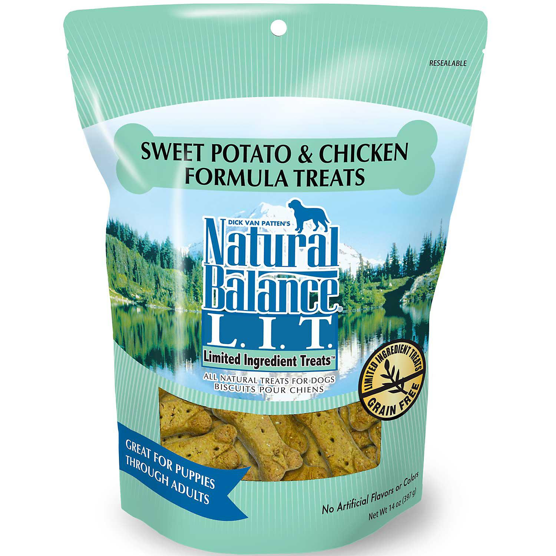 Natural Balance L.I.T. Limited Ingredient Treats Sweet Potato & Chicken Formula Dog Treats, Regular Breeds, 14-oz