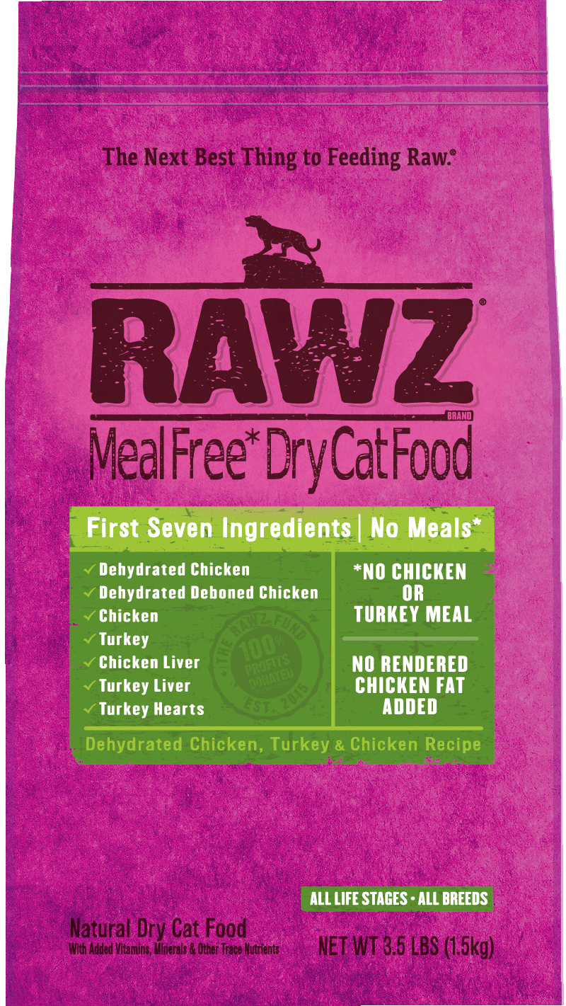 Rawz Meal Free Dry Cat Food Dehydrated Chicken, Turkey & Chicken Recipe, 3.5-lb