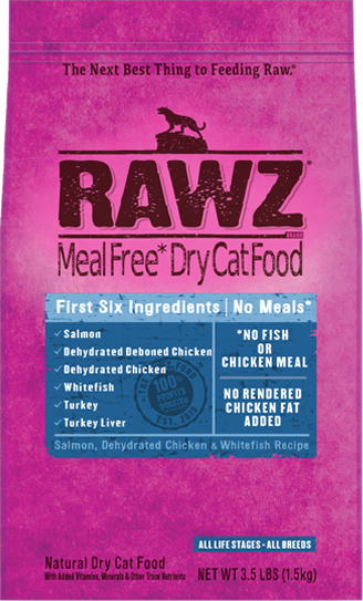 RAWZ Meal Free Dry Cat Salmon Chicken Whitefish Recipe, 1.75-lb
