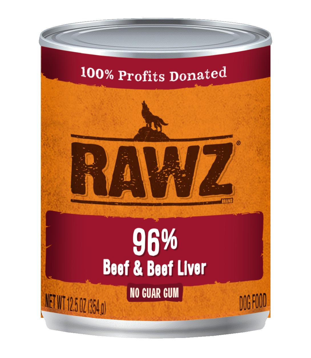 RAWZ Dog 96% Beef & Beef Liver, 12.5-oz