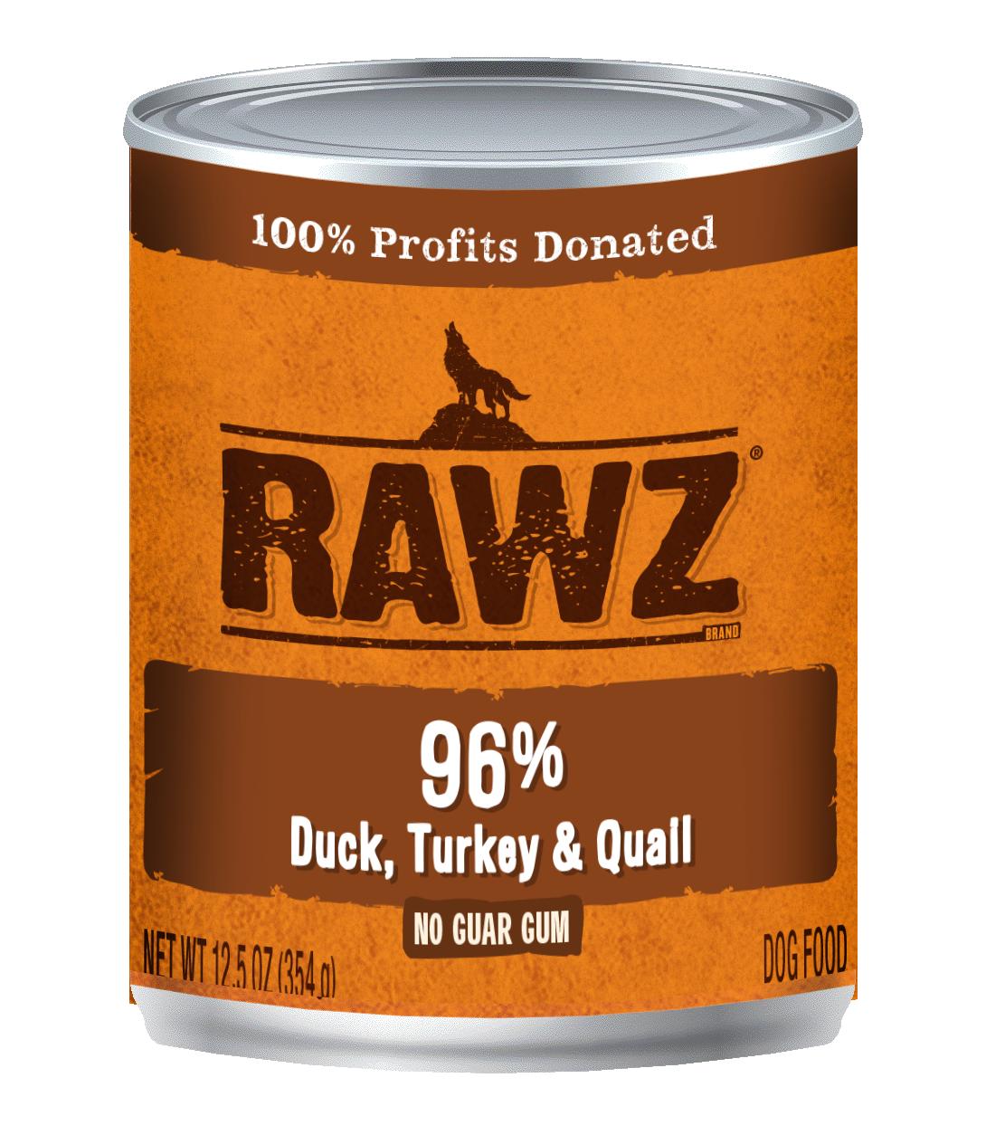 RAWZ Dog 96% Duck, Turkey & Quail, 12.5-oz