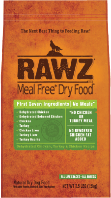 RAWZ Meal Free Dry Dog Food Dehydrated Chicken, Turkey & Chicken Recipe, 20-lb