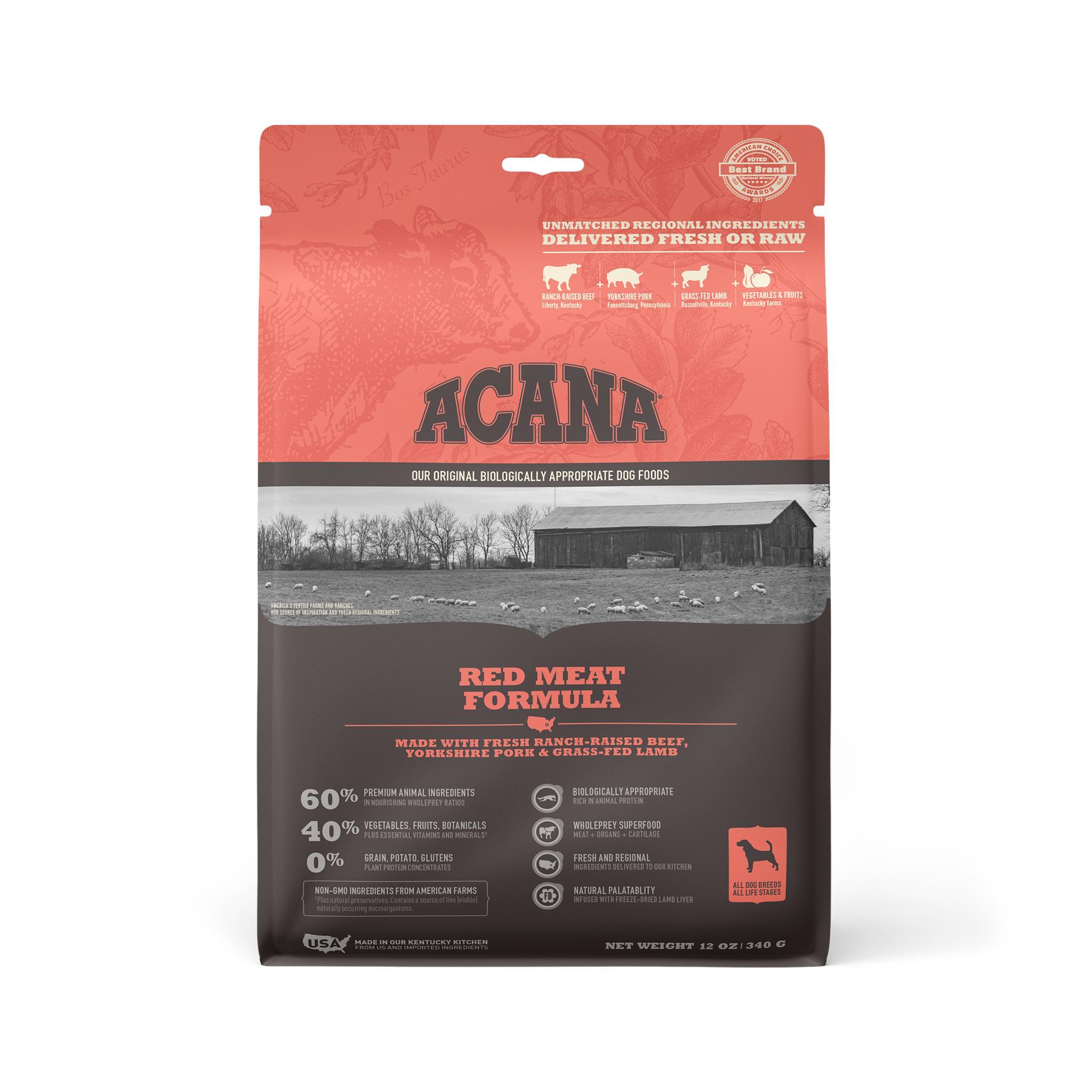 ACANA Red Meat Grain-Free Dry Dog Food, 12-oz
