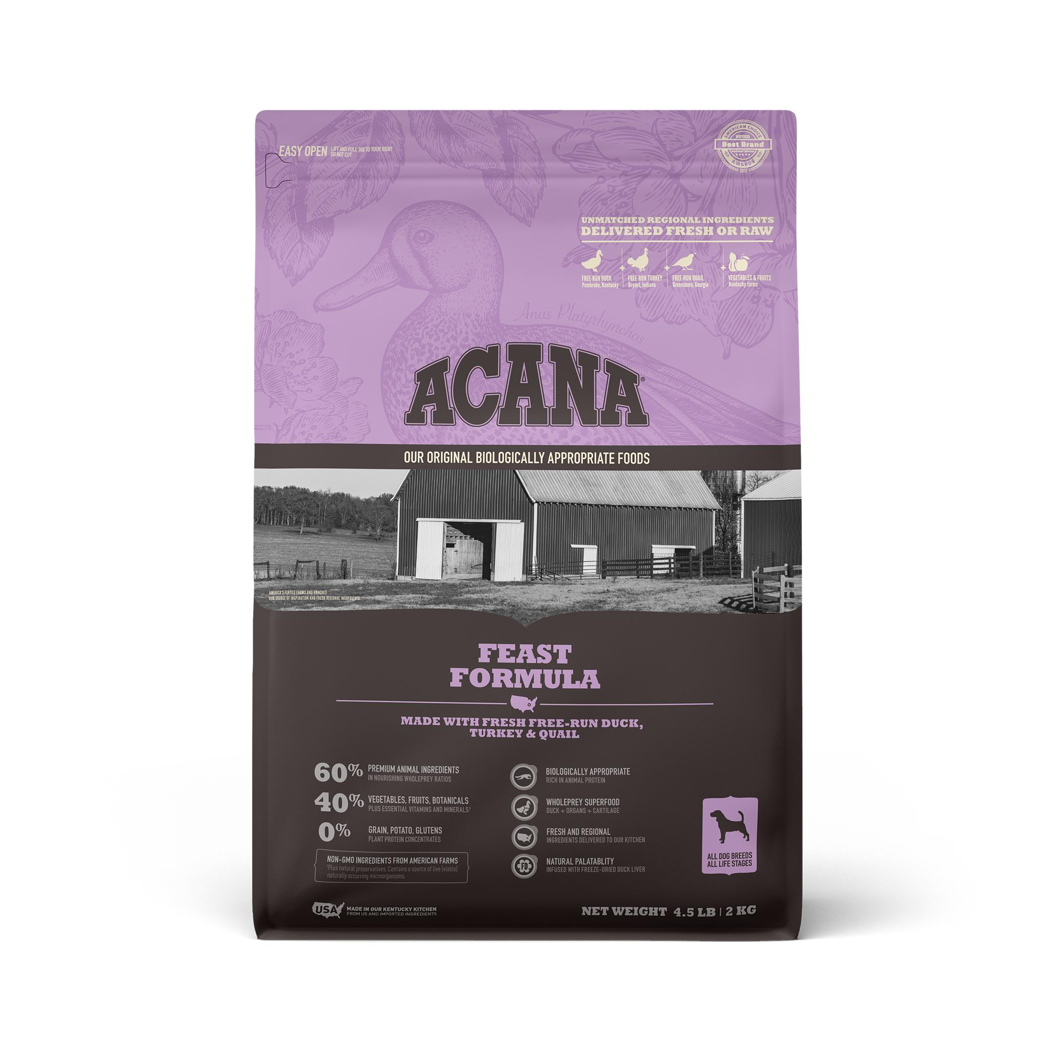 ACANA Feast Grain-Free Dry Dog Food, 4.5-lb