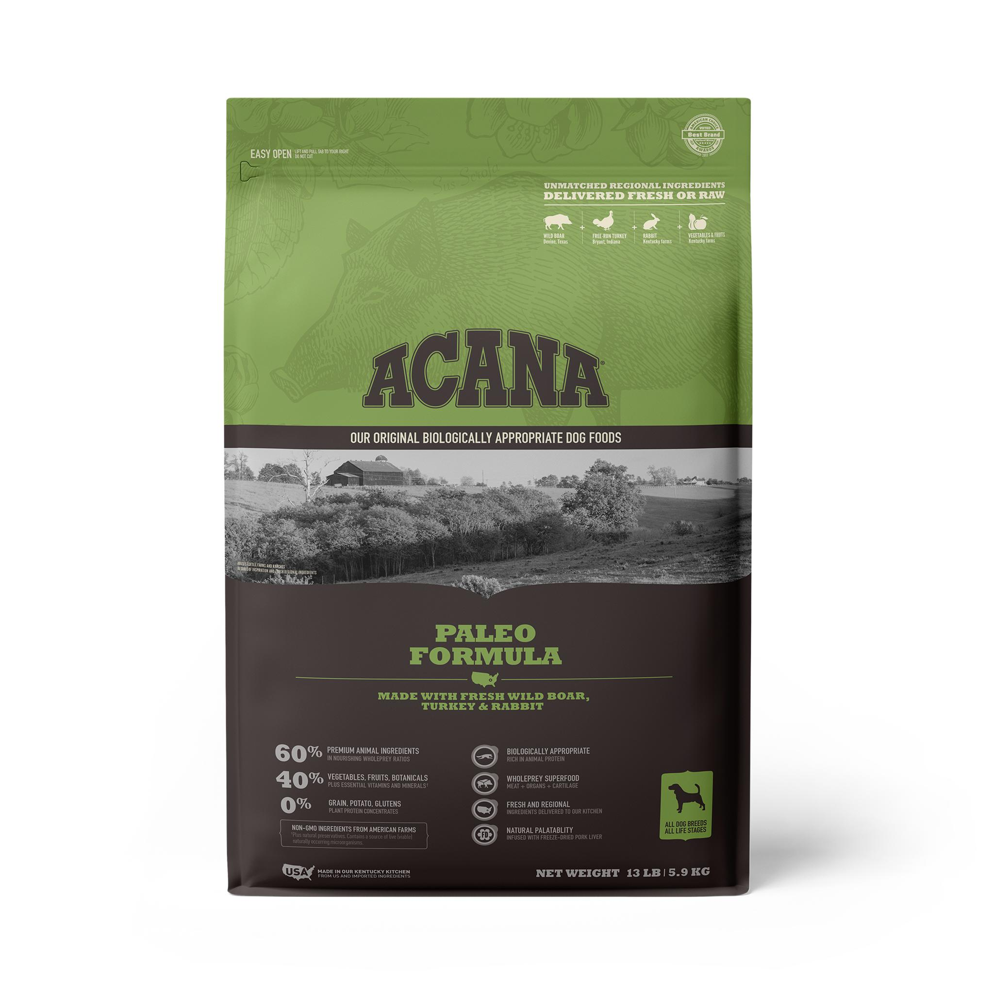 ACANA Paleo Grain-Free Dry Dog Food, 13-lb