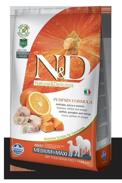 Farmina N&D Pumpkin Cod & Orange Adult Medium & Maxi Dog Dry Food Image