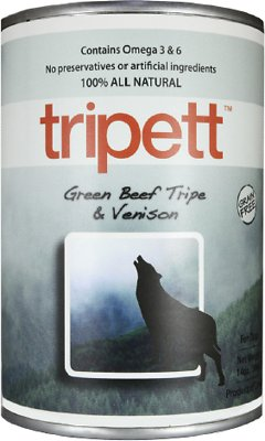PetKind Tripett Green Beef Tripe & Venison Grain-Free Canned Dog Food, 13-oz, case of 12