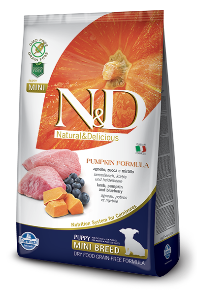 Farmina N&D Pumpkin Lamb & Blueberry Mini Puppy Dog Dry Food, 5.5-lb