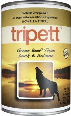 PetKind Tripett Green Beef Tripe, Duck & Salmon Grain-Free Canned Dog Food, 13-oz, case of 12
