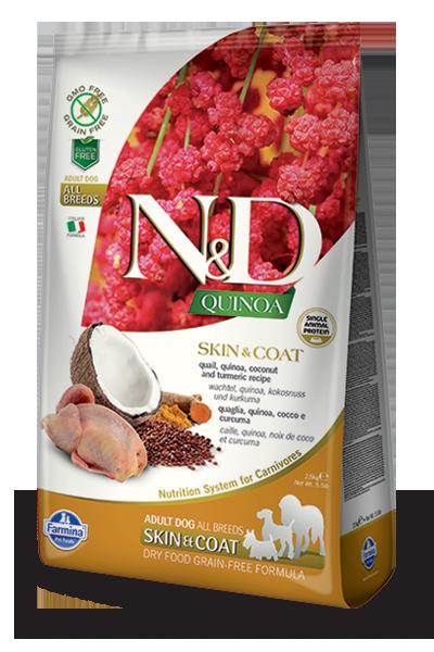 Farmina N&D Quinoa Skin & Coat Quail Dry Dog Food, 5.5-lb