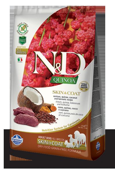 Farmina N&D Quinoa Skin & Coat Venison Dry Dog Food, 5.5-lb