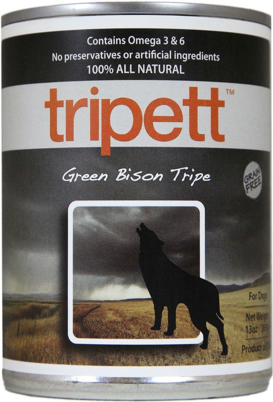 PetKind Tripett Green Bison Tripe Grain-Free Canned Dog Food, 13-oz, case of 12